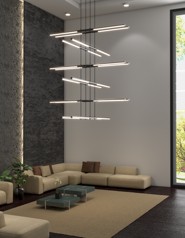 Cross Line suspension lamp has an industrial and minimalist design with a contemporary style. Each rod can be independently positioned as up or downlight.